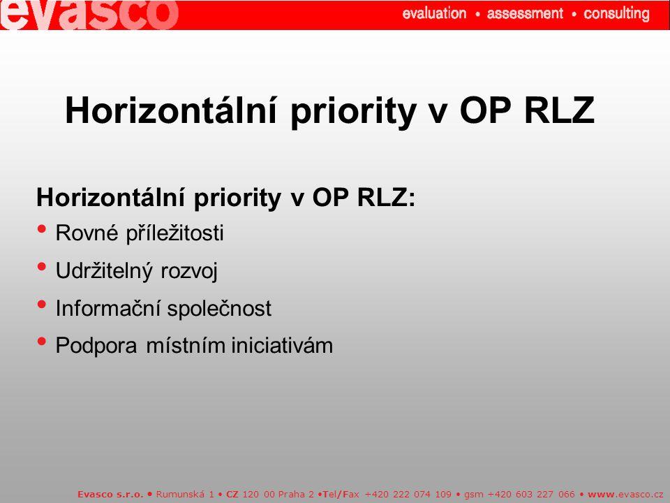 Horizontální priority v OP RLZ Evasco s.r.o.