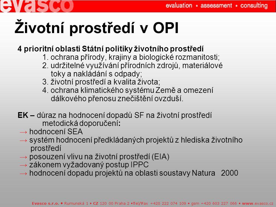 Životní prostředí v OPI 4 prioritní oblasti Státní politiky životního prostředí 1.
