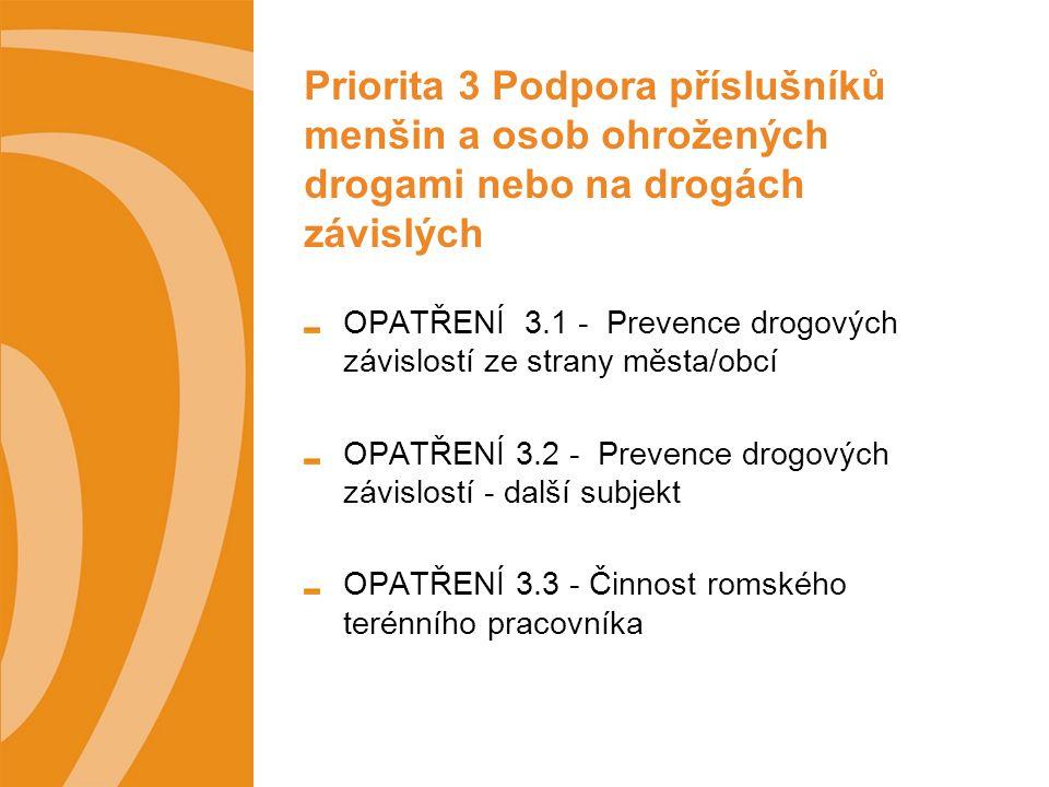 Priorita 3 Podpora příslušníků menšin a osob ohrožených drogami nebo na drogách závislých OPATŘENÍ 3.1 - Prevence drogových závislostí ze strany města/obcí OPATŘENÍ 3.2 - Prevence drogových závislostí - další subjekt OPATŘENÍ 3.3 - Činnost romského terénního pracovníka