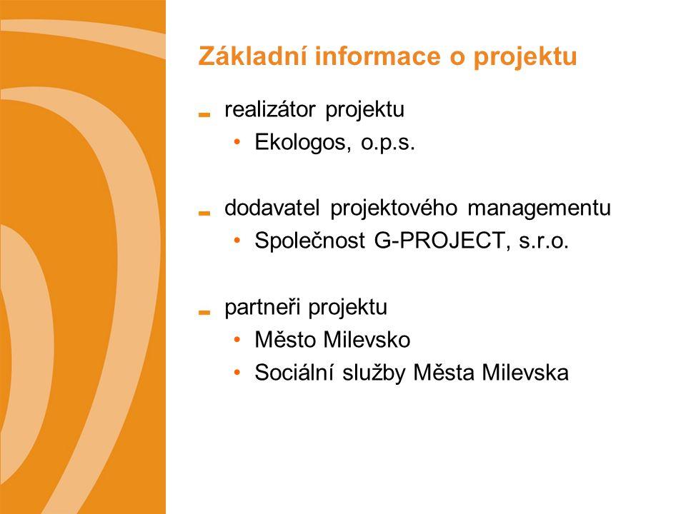 Základní informace o projektu realizátor projektu Ekologos, o.p.s.
