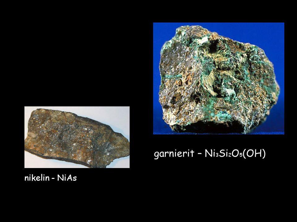 nikelin - NiAs garnierit – Ni 3 Si 2 O 5 (OH)