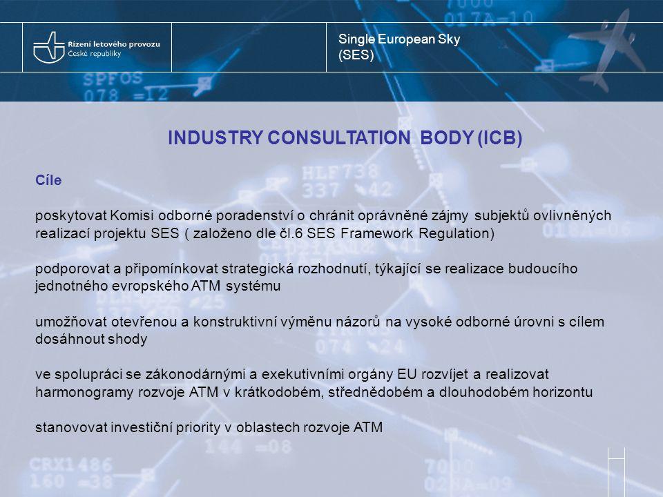 Single European Sky (SES) INDUSTRY CONSULTATION BODY (ICB) Cíle poskytovat Komisi odborné poradenství o chránit oprávněné zájmy subjektů ovlivněných realizací projektu SES ( založeno dle čl.6 SES Framework Regulation) podporovat a připomínkovat strategická rozhodnutí, týkající se realizace budoucího jednotného evropského ATM systému umožňovat otevřenou a konstruktivní výměnu názorů na vysoké odborné úrovni s cílem dosáhnout shody ve spolupráci se zákonodárnými a exekutivními orgány EU rozvíjet a realizovat harmonogramy rozvoje ATM v krátkodobém, střednědobém a dlouhodobém horizontu stanovovat investiční priority v oblastech rozvoje ATM