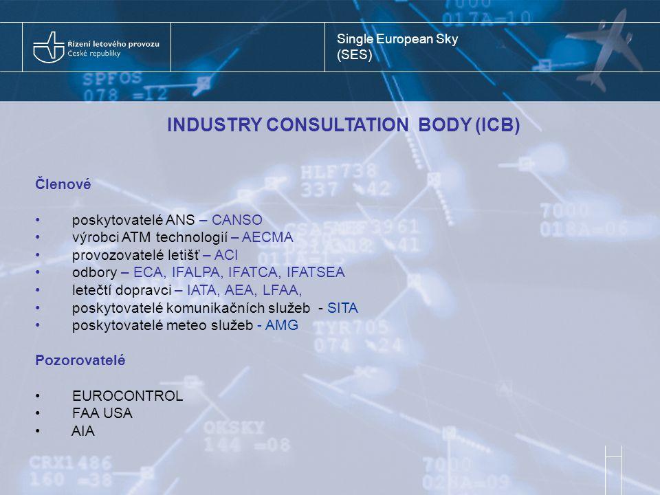 Single European Sky (SES) INDUSTRY CONSULTATION BODY (ICB) Členové poskytovatelé ANS – CANSO výrobci ATM technologií – AECMA provozovatelé letišť – ACI odbory – ECA, IFALPA, IFATCA, IFATSEA letečtí dopravci – IATA, AEA, LFAA, poskytovatelé komunikačních služeb - SITA poskytovatelé meteo služeb - AMG Pozorovatelé EUROCONTROL FAA USA AIA