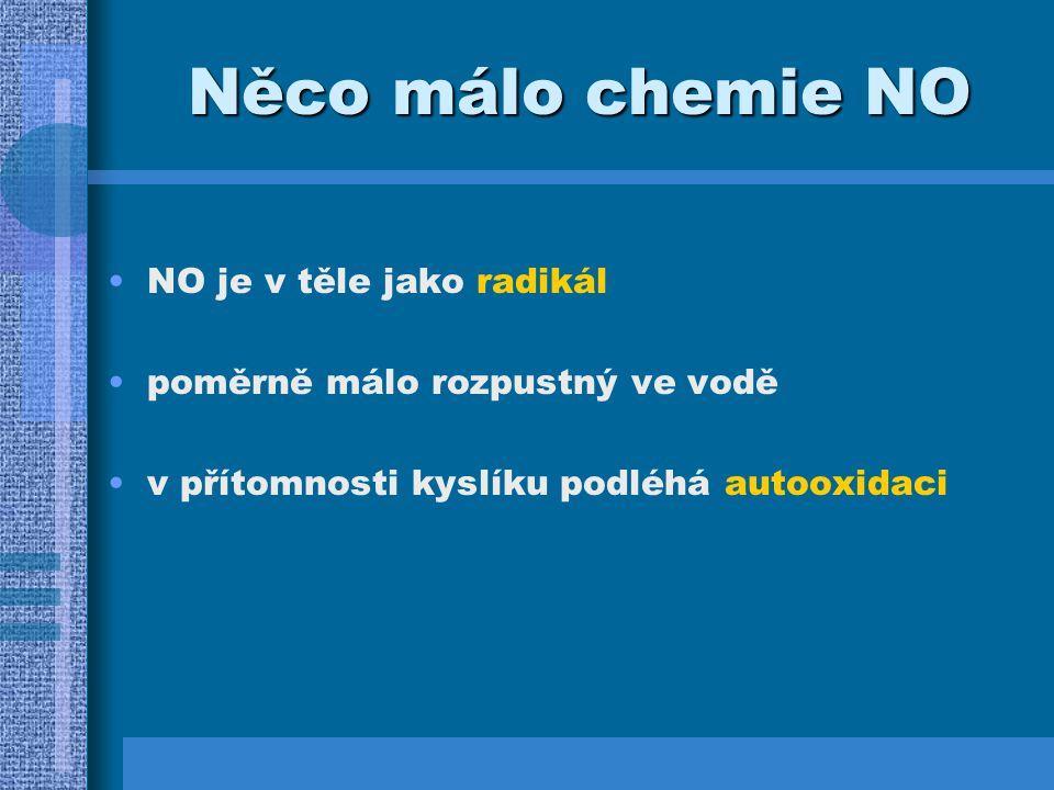 Autooxidace v přítomnosti kyslíku nastává autooxidace za vzniku NO 2 : 2 NO + O 2 --> 2 NO 2 je rychlá (několik sec, je-li NO i O 2 hodně), nebo pomalá (je-li NO málo - 500 sec) v přítomnosti superoxidu vzniká peroxynitrit - OONO, je velmi reaktivní a cytotoxický NO je velmi rychle inaktivován oxidací s železem oxyhemoglobinu za vzniku NO 3 - (nitrosoHb --> metHb --> Hb reduktáza --> oxyHb)