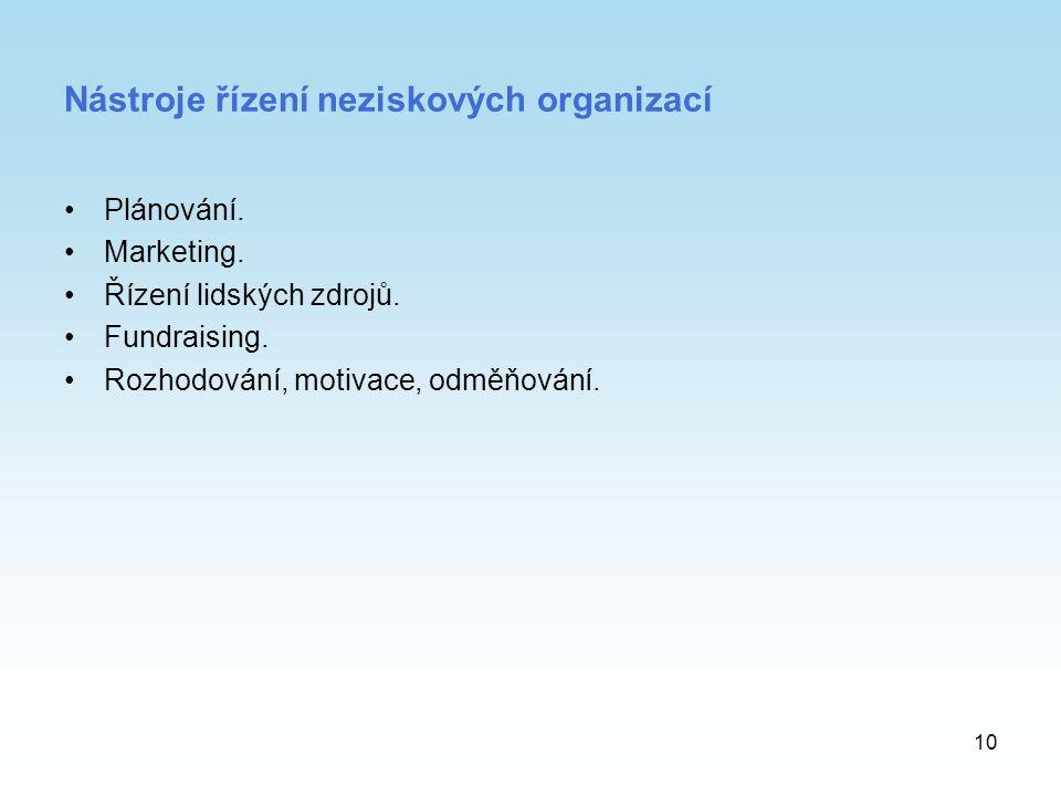 10 Nástroje řízení neziskových organizací Plánování. Marketing. Řízení lidských zdrojů. Fundraising. Rozhodování, motivace, odměňování.