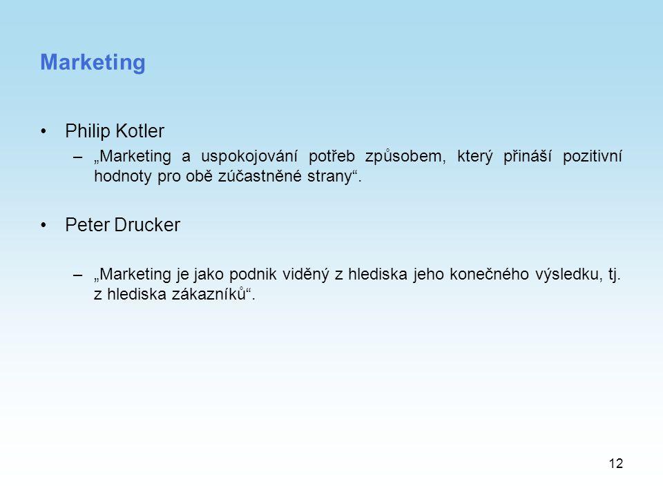 """12 Marketing Philip Kotler –""""Marketing a uspokojování potřeb způsobem, který přináší pozitivní hodnoty pro obě zúčastněné strany"""". Peter Drucker –""""Mar"""