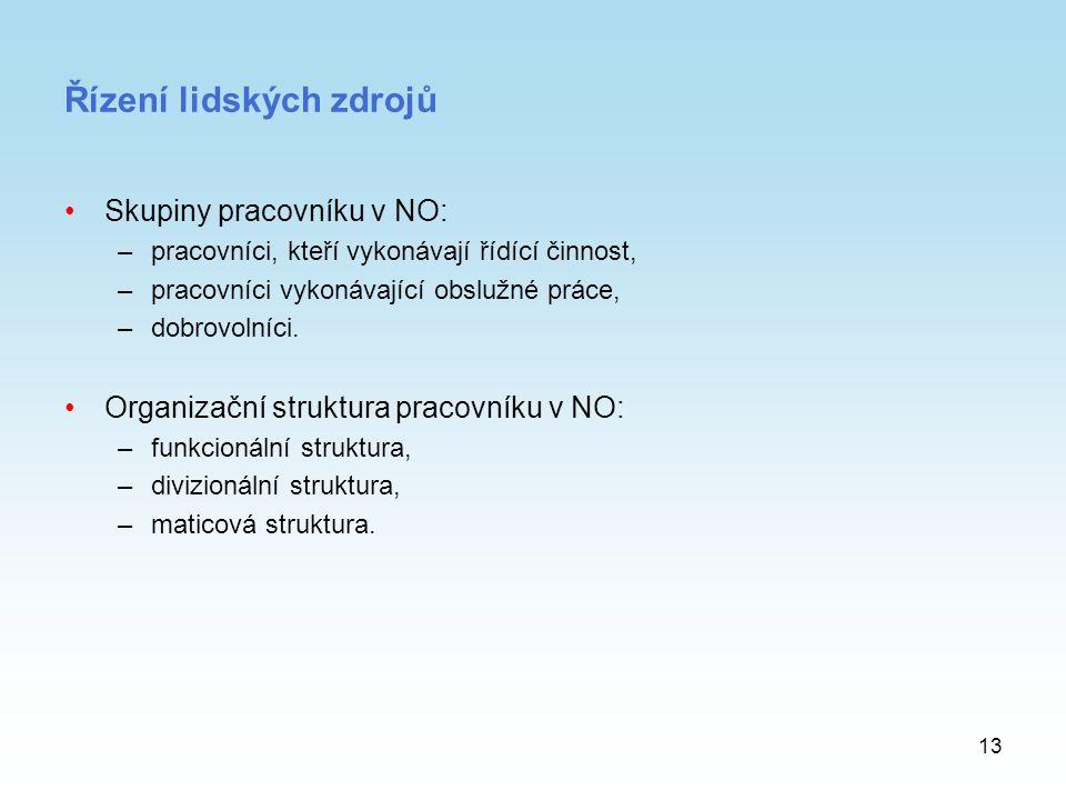 13 Řízení lidských zdrojů Skupiny pracovníku v NO: –pracovníci, kteří vykonávají řídící činnost, –pracovníci vykonávající obslužné práce, –dobrovolníc