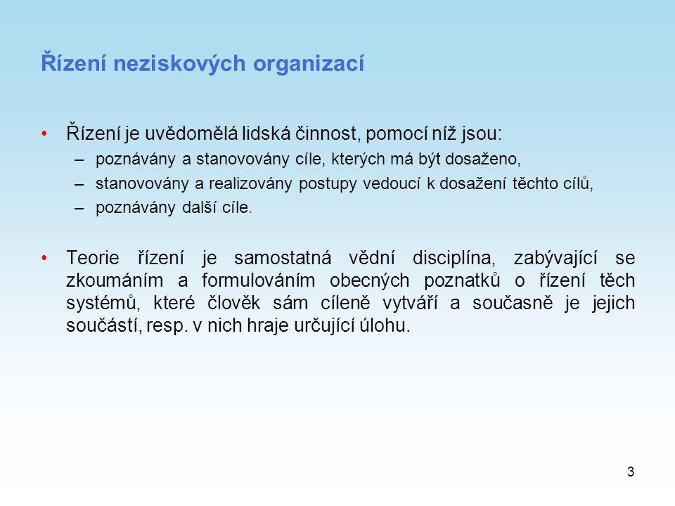 3 Řízení neziskových organizací Řízení je uvědomělá lidská činnost, pomocí níž jsou: –poznávány a stanovovány cíle, kterých má být dosaženo, –stanovov