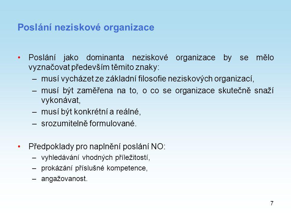 7 Poslání neziskové organizace Poslání jako dominanta neziskové organizace by se mělo vyznačovat především těmito znaky: –musí vycházet ze základní fi