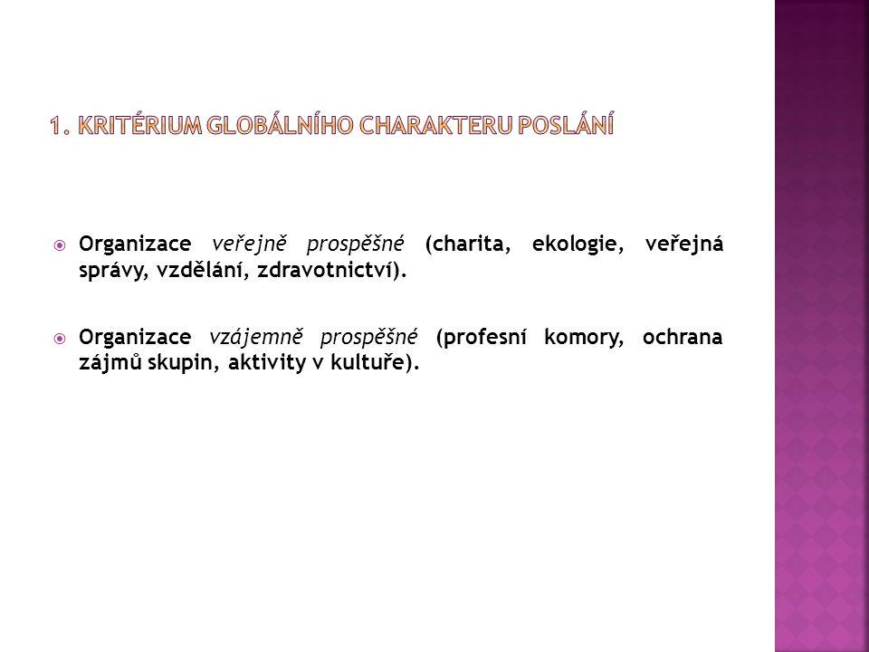  Organizace veřejně prospěšné (charita, ekologie, veřejná správy, vzdělání, zdravotnictví).