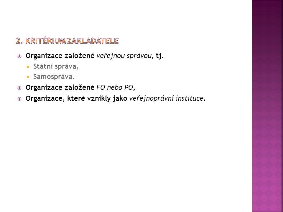  Organizace založené veřejnou správou, tj. Státní správa,  Samospráva.