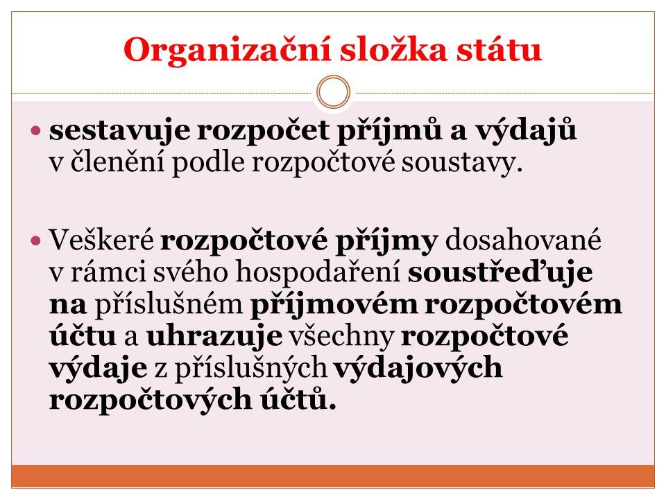 Organizační složka státu sestavuje rozpočet příjmů a výdajů v členění podle rozpočtové soustavy. Veškeré rozpočtové příjmy dosahované v rámci svého ho