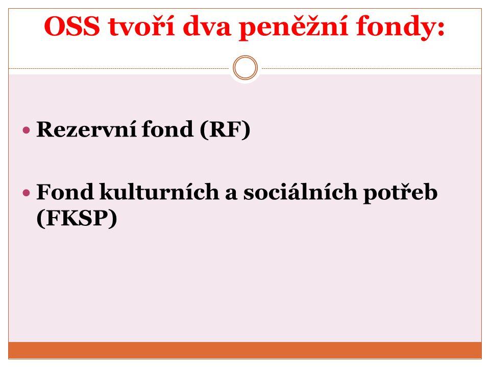 OSS tvoří dva peněžní fondy: Rezervní fond (RF) Fond kulturních a sociálních potřeb (FKSP)