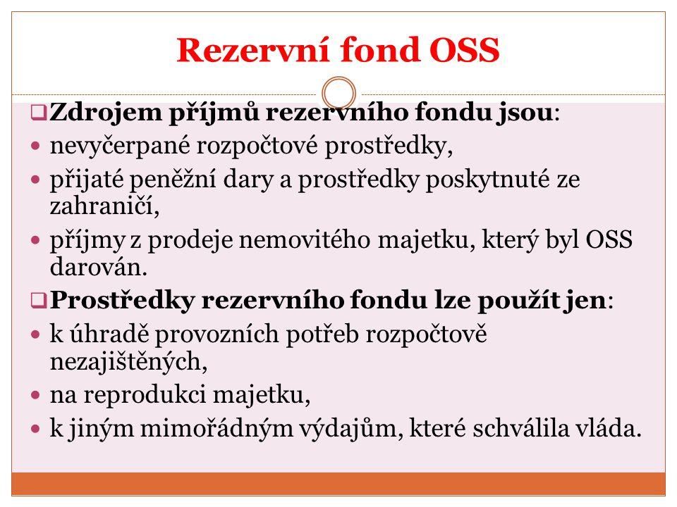 Rezervní fond OSS  Zdrojem příjmů rezervního fondu jsou: nevyčerpané rozpočtové prostředky, přijaté peněžní dary a prostředky poskytnuté ze zahraničí