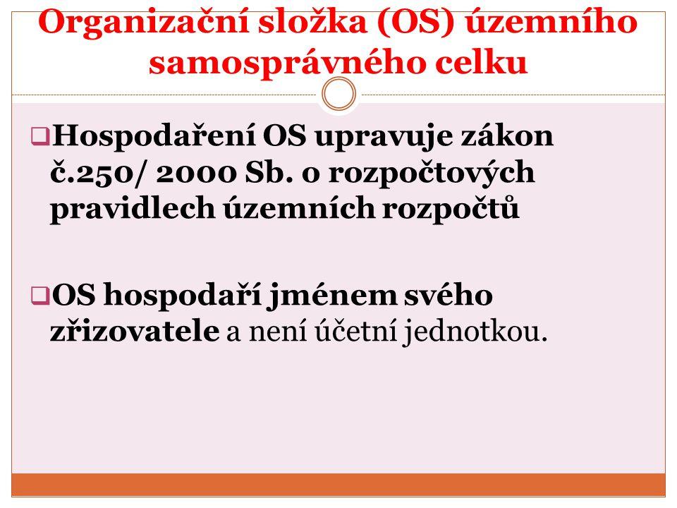 Organizační složka (OS) územního samosprávného celku  Hospodaření OS upravuje zákon č.250/ 2000 Sb. o rozpočtových pravidlech územních rozpočtů  OS