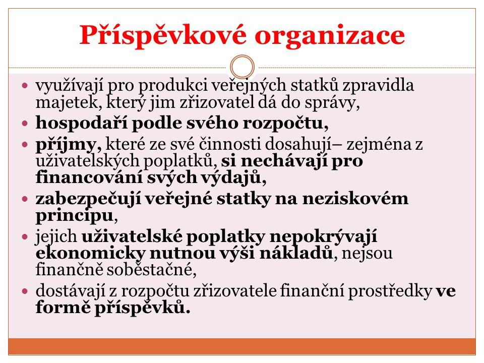 Příspěvkové organizace využívají pro produkci veřejných statků zpravidla majetek, který jim zřizovatel dá do správy, hospodaří podle svého rozpočtu, p