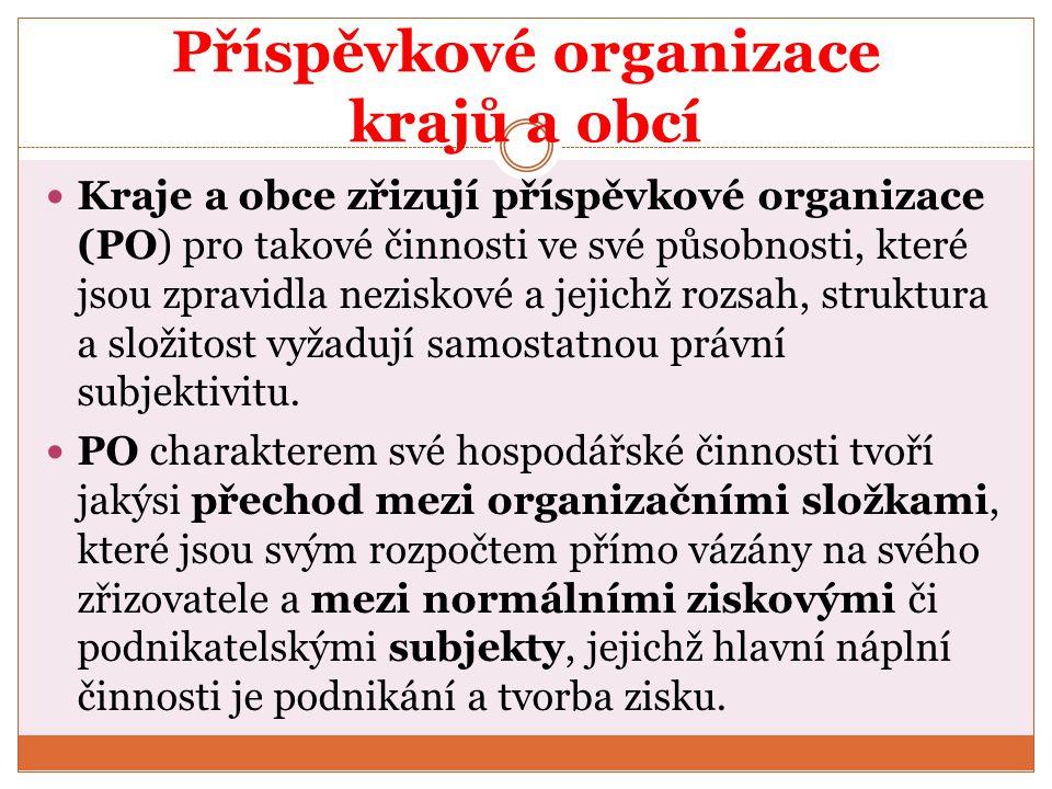Příspěvkové organizace krajů a obcí Kraje a obce zřizují příspěvkové organizace (PO) pro takové činnosti ve své působnosti, které jsou zpravidla nezis