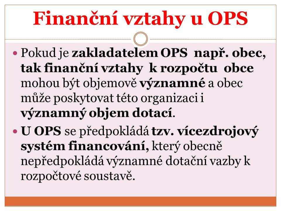 Finanční vztahy u OPS Pokud je zakladatelem OPS např. obec, tak finanční vztahy k rozpočtu obce mohou být objemově významné a obec může poskytovat tét