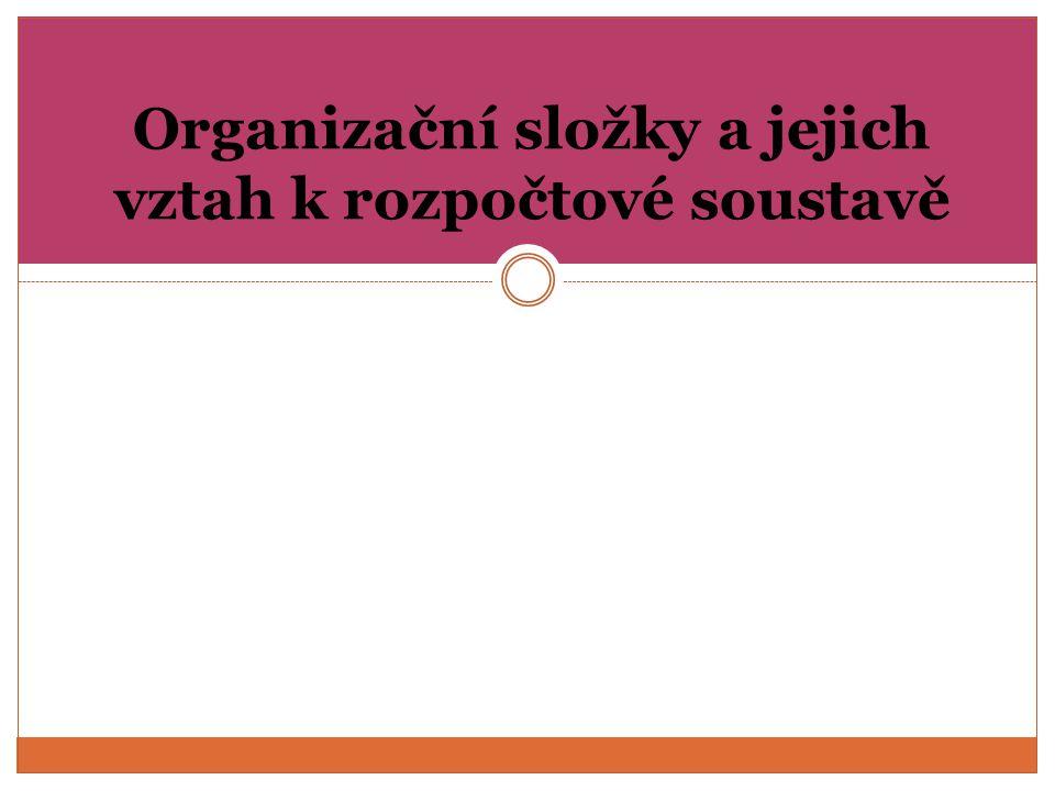 Organizační složky a jejich vztah k rozpočtové soustavě