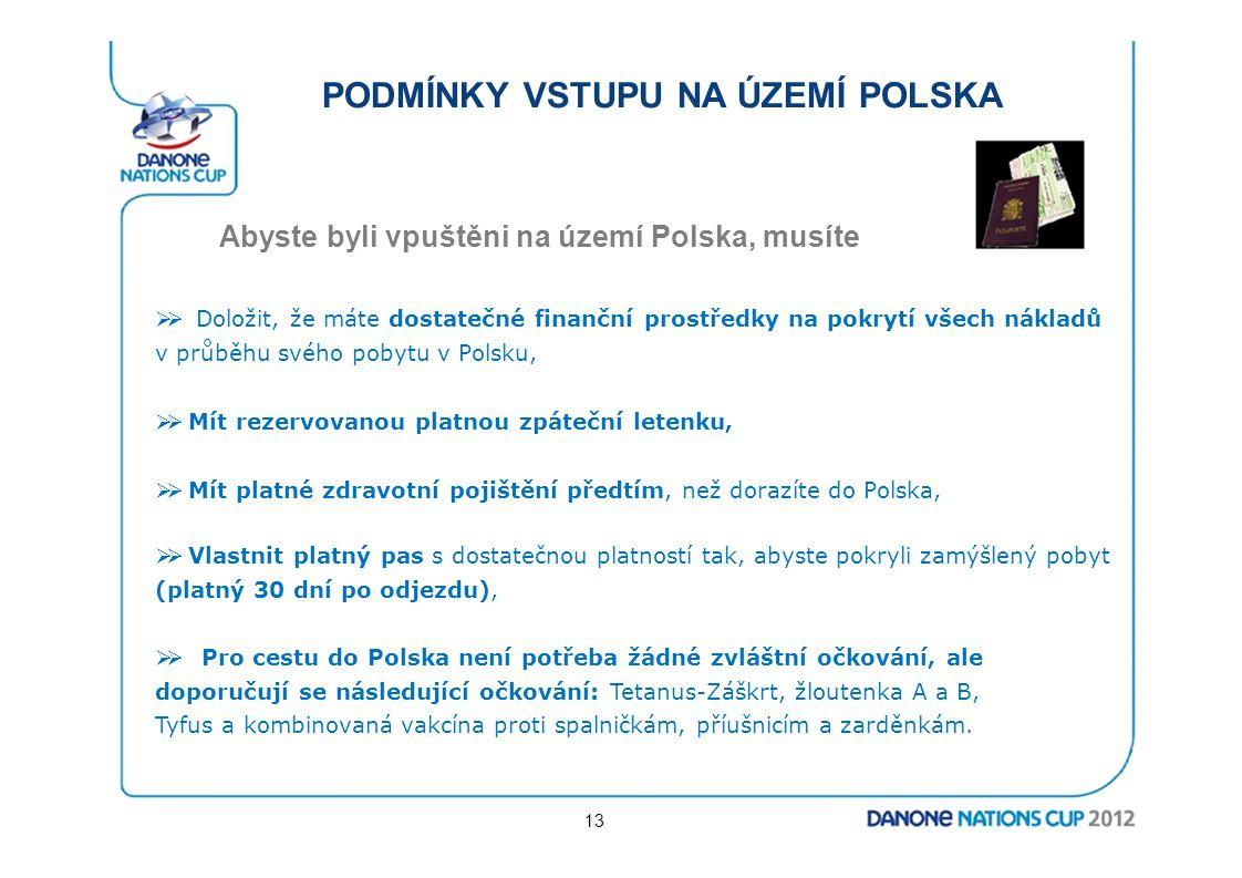PODMÍNKY VSTUPU NA ÚZEMÍ POLSKA Abyste byli vpuštěni na území Polska, musíte  Doložit, že máte dostatečné finanční prostředky na pokrytí všech nákla
