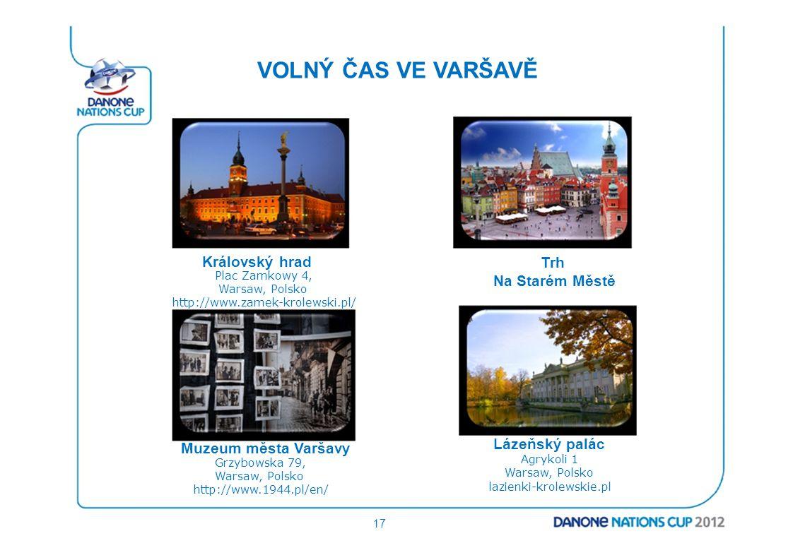 VOLNÝ ČAS VE VARŠAVĚ Královský hrad Plac Zamkowy 4, Warsaw, Polsko http://www.zamek-krolewski.pl/ Muzeum města Varšavy Grzybowska 79, Warsaw, Polsko h