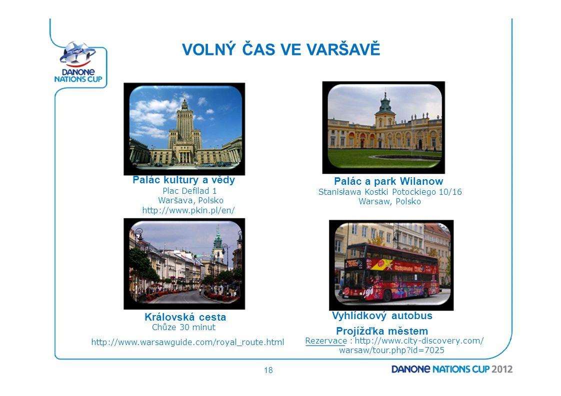 VOLNÝ ČAS VE VARŠAVĚ Palác kultury a vědy Plac Defilad 1 Waršava, Polsko http://www.pkin.pl/en/ Královská cesta Chůze 30 minut http://www.warsawguide.
