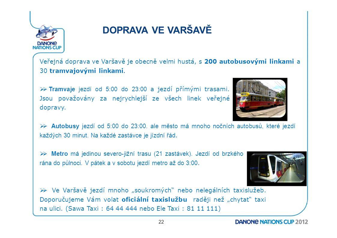 DOPRAVA VE VARŠAVĚ Veřejná doprava ve Varšavě je obecně velmi hustá, s 200 autobusovými linkami a 30 tramvajovými linkami.  Tramvaje jezdí od 5:00 d