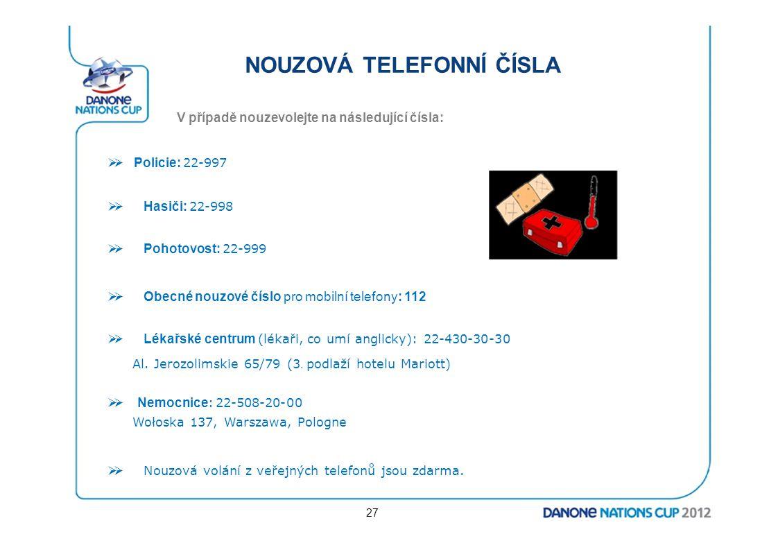 NOUZOVÁ TELEFONNÍ ČÍSLA V případě nouzevolejte na následující čísla:  Policie: 22-997  Hasiči: 22-998  Pohotovost: 22-999  Obecné nouzové čísl