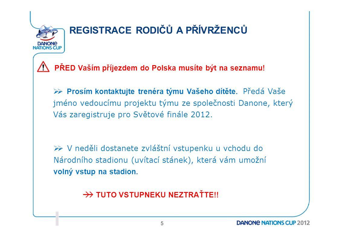 REGISTRACE RODIČŮ A PŘÍVRŽENCŮ PŘED Vaším příjezdem do Polska musíte být na seznamu!  Prosím kontaktujte trenéra týmu Vašeho dítěte. Předá Vaše jmén