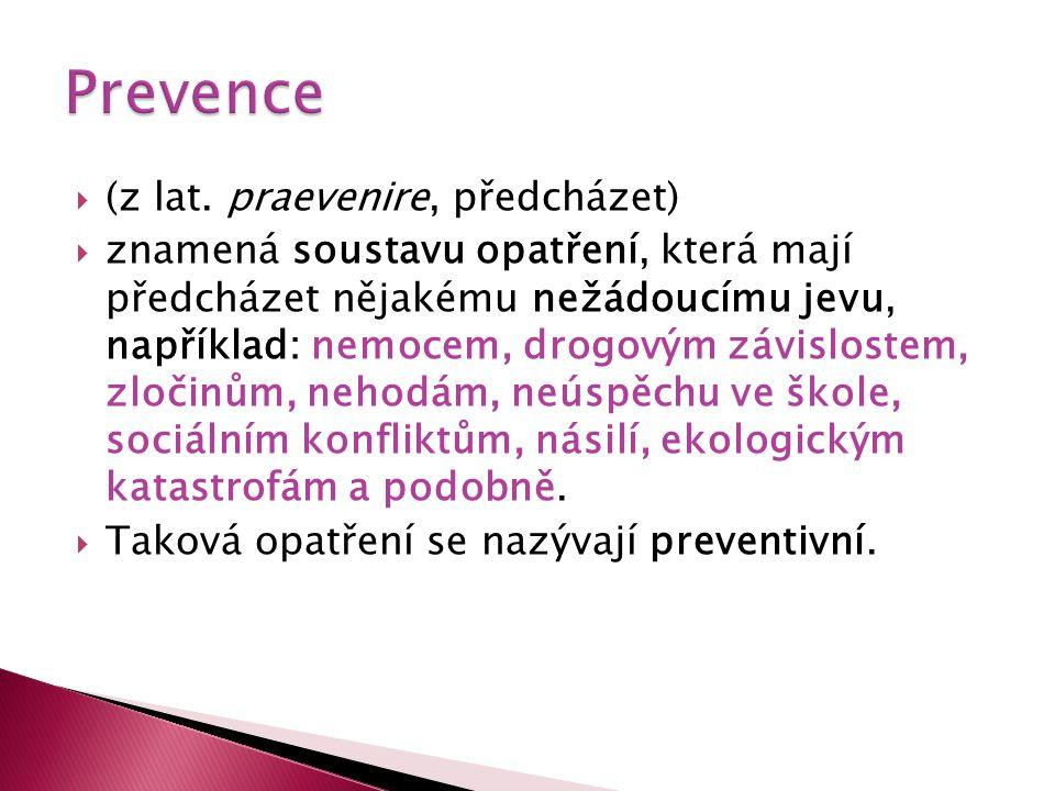  (z lat. praevenire, předcházet)  znamená soustavu opatření, která mají předcházet nějakému nežádoucímu jevu, například: nemocem, drogovým závislost