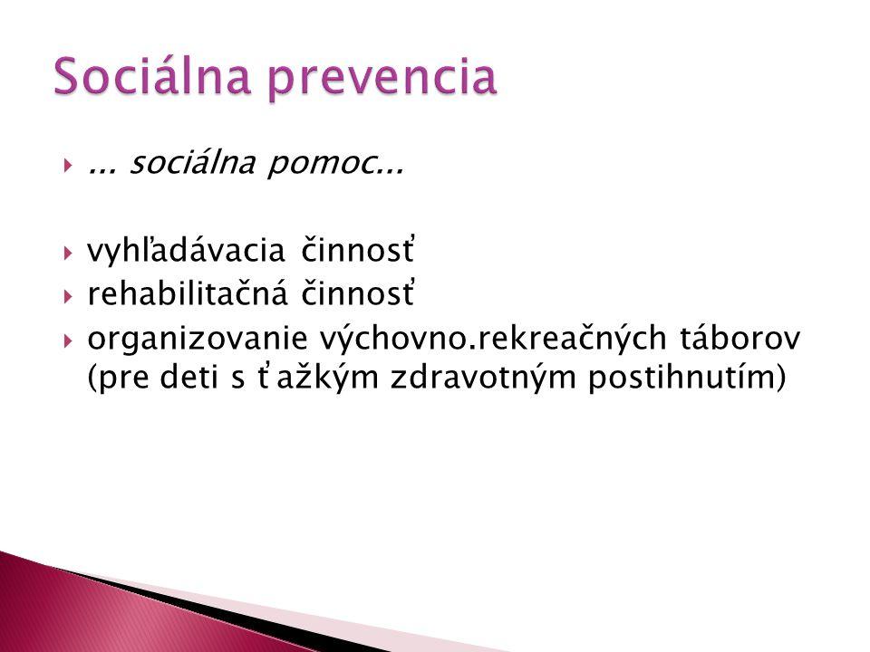 ... sociálna pomoc...  vyhľadávacia činnosť  rehabilitačná činnosť  organizovanie výchovno.rekreačných táborov (pre deti s ťažkým zdravotným posti