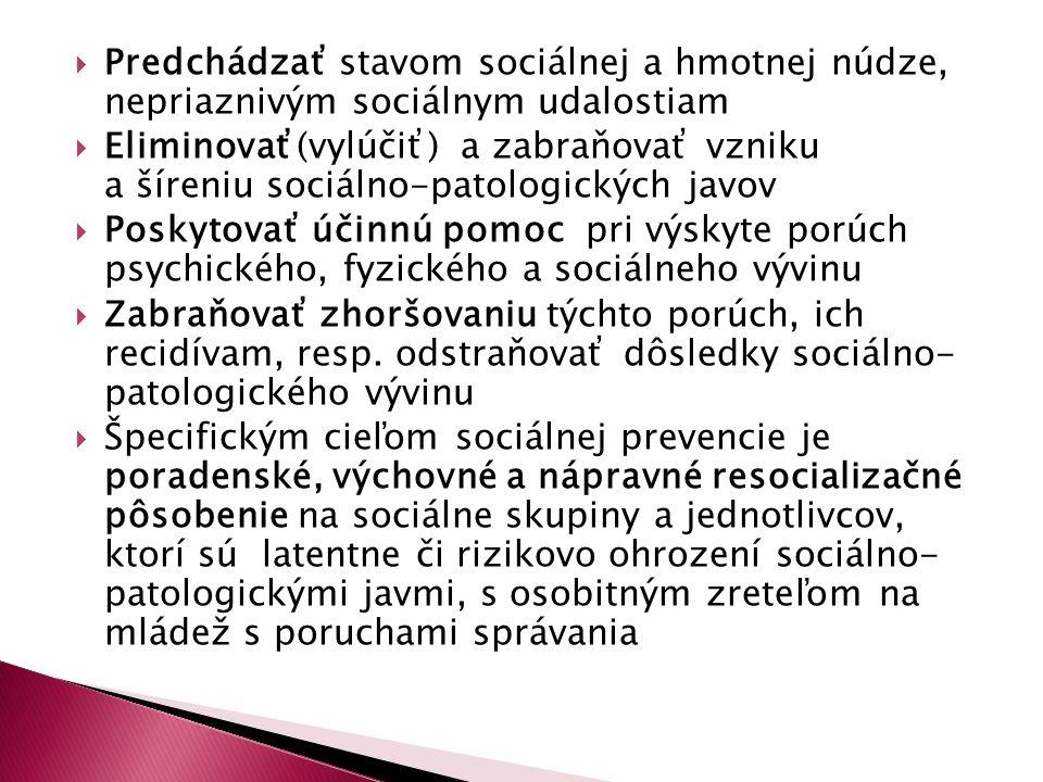  Predchádzať stavom sociálnej a hmotnej núdze, nepriaznivým sociálnym udalostiam  Eliminovať(vylúčiť) a zabraňovať vzniku a šíreniu sociálno-patolog