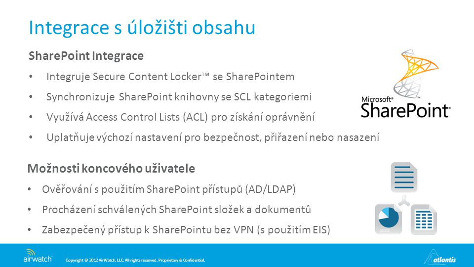 Copyright © 2012 AirWatch, LLC. All rights reserved. Proprietary & Confidential. Integrace s úložišti obsahu SharePoint Integrace Integruje Secure Con
