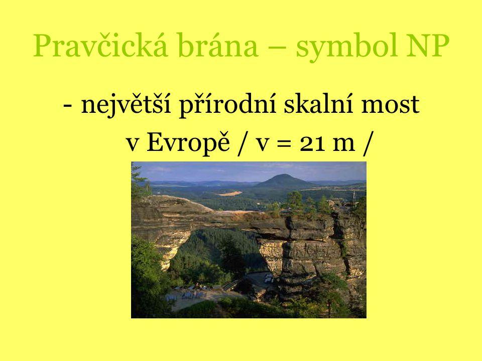 Pravčická brána – symbol NP -největší přírodní skalní most v Evropě / v = 21 m /