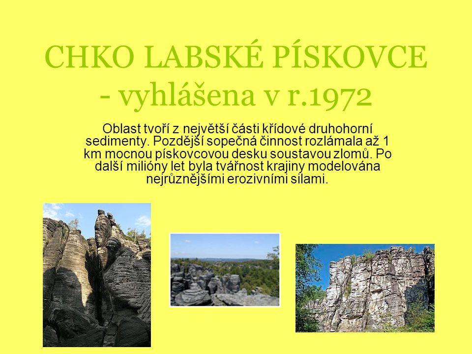 CHKO LABSKÉ PÍSKOVCE - vyhlášena v r.1972 Oblast tvoří z největší části křídové druhohorní sedimenty.