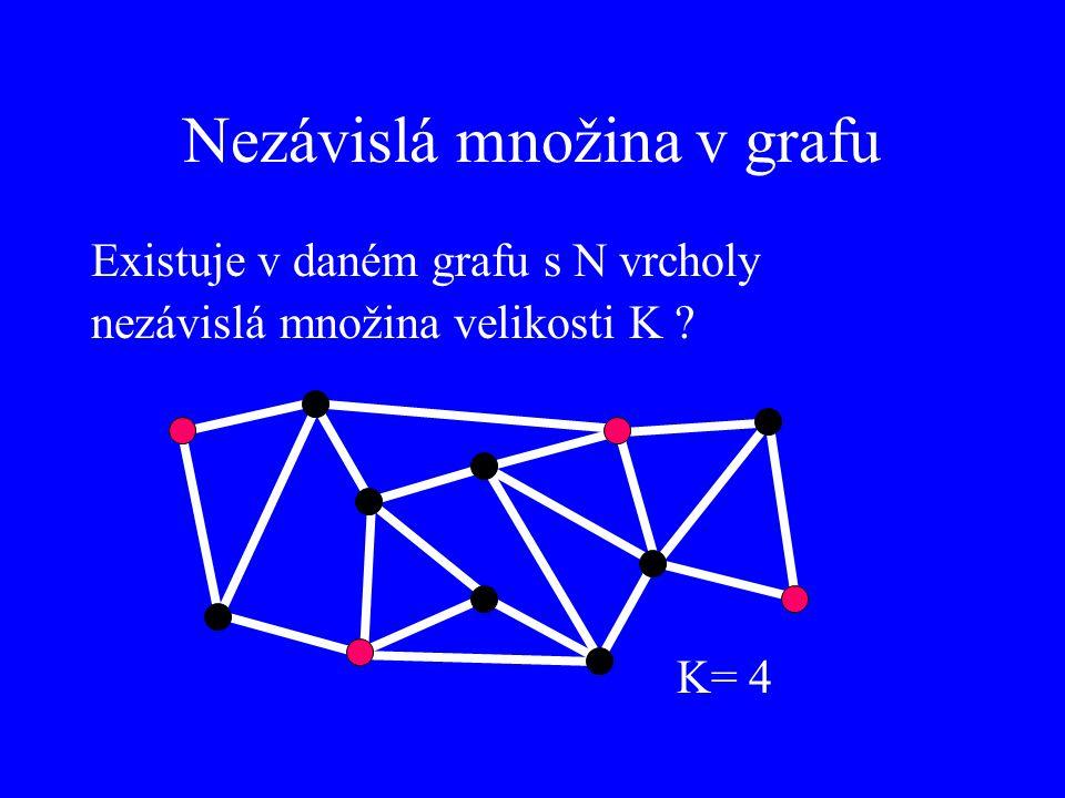 Nezávislá množina v grafu Existuje v daném grafu s N vrcholy nezávislá množina velikosti K ? K= 4