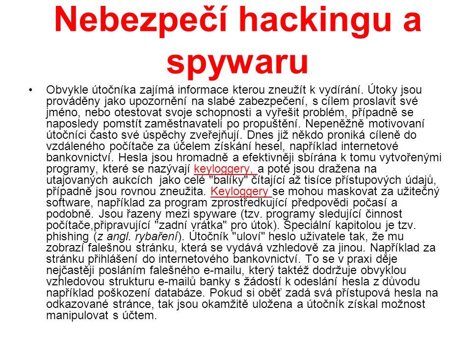 Nebezpečí v komunikaci Z důvodu absence šifrování by neměla být citlivá data posílána e-mailem, protože ten je předáván na své cestě nešifrovaně mezi mnohými uzly.