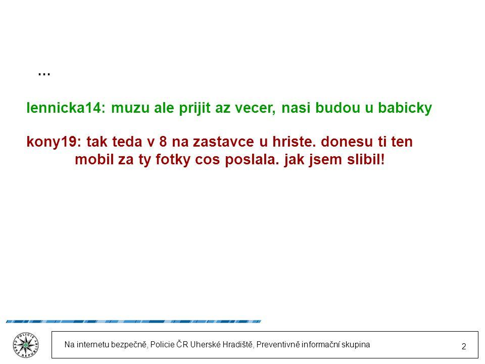 Na internetu bezpečně, Policie ČR Uherské Hradiště, Preventivně informační skupina 13 Na internetu nikdy přesně nevíš, kdo je ten, s kým mluvíš.