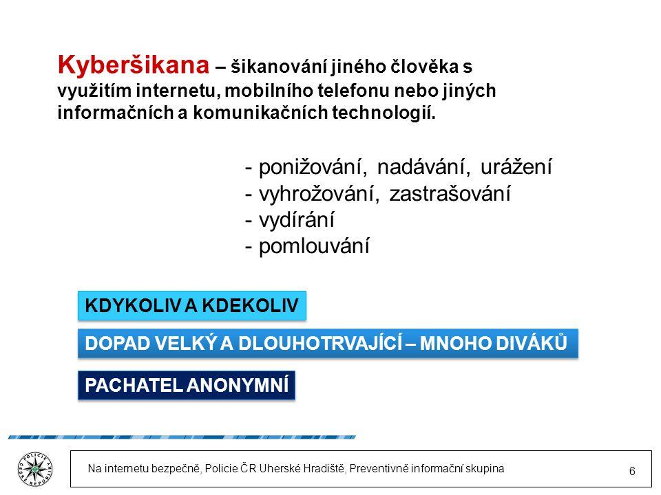 Na internetu bezpečně, Policie ČR Uherské Hradiště, Preventivně informační skupina 6 Kyberšikana – šikanování jiného člověka s využitím internetu, mobilního telefonu nebo jiných informačních a komunikačních technologií.