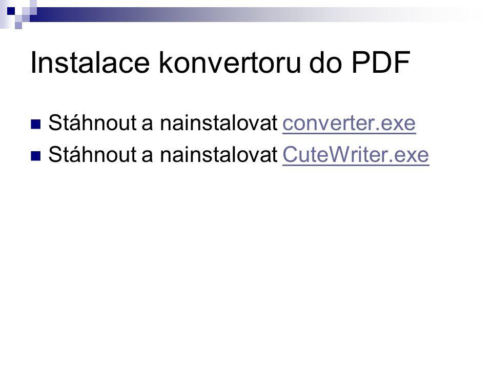 Instalace konvertoru do PDF Stáhnout a nainstalovat converter.execonverter.exe Stáhnout a nainstalovat CuteWriter.exeCuteWriter.exe