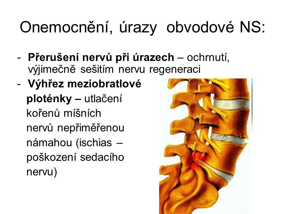 Onemocnění, úrazy obvodové NS: -Přerušení nervů při úrazech – ochrnutí, výjimečně sešitím nervu regeneraci -Výhřez meziobratlové ploténky – utlačení k