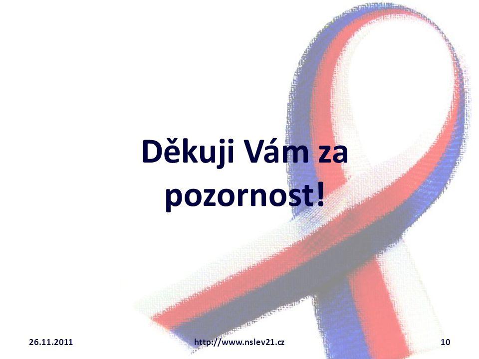 Děkuji Vám za pozornost! 26.11.2011http://www.nslev21.cz10