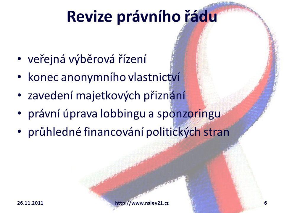 Kontrola veřejná kontrola činnosti správních orgánů elektronické hlasování rozšíření pravomocí kontrolních orgánů zveřejňování kontrolních zjištění 26.11.2011http://www.nslev21.cz7