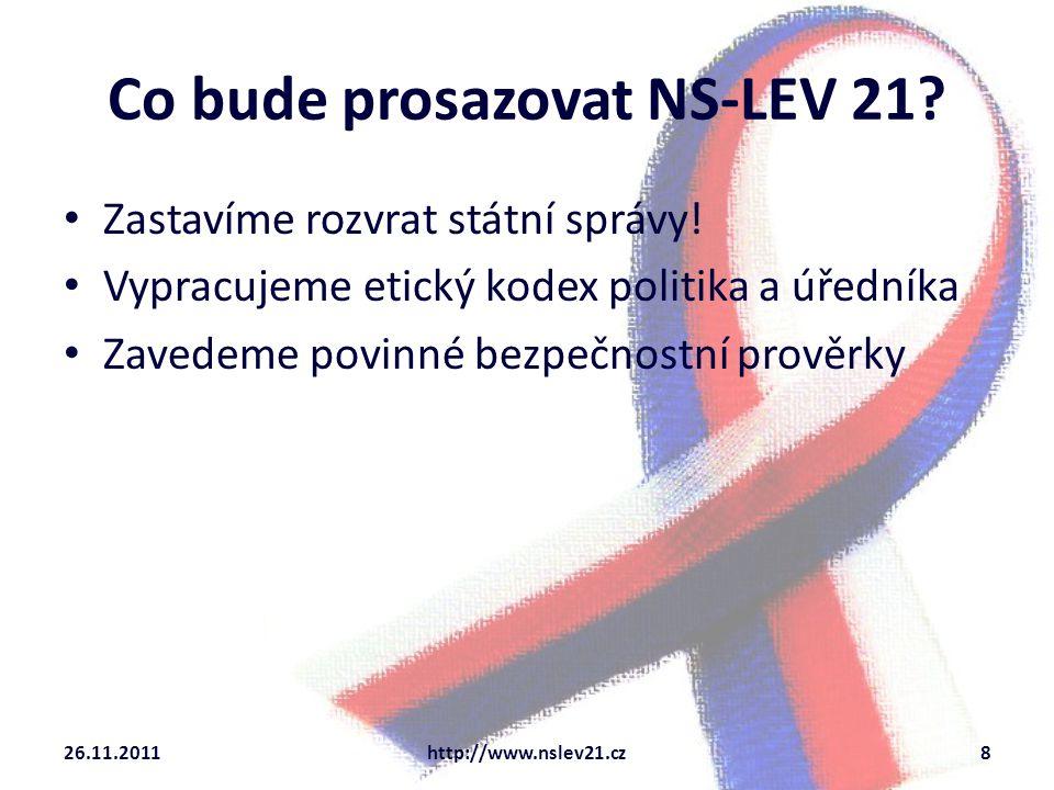 Co bude prosazovat NS-LEV 21. Zastavíme rozvrat státní správy.
