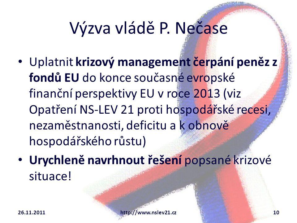 Výzva vládě P. Nečase Uplatnit krizový management čerpání peněz z fondů EU do konce současné evropské finanční perspektivy EU v roce 2013 (viz Opatřen