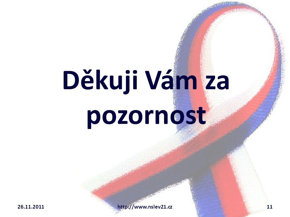 Děkuji Vám za pozornost 26.11.2011http://www.nslev21.cz11