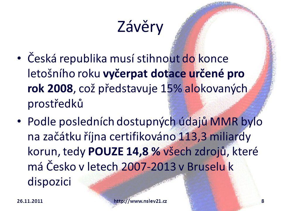 Závěry 26.11.2011http://www.nslev21.cz8 Česká republika musí stihnout do konce letošního roku vyčerpat dotace určené pro rok 2008, což představuje 15%