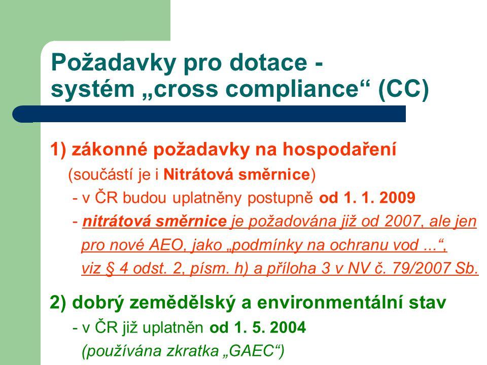 """Požadavky pro dotace - systém """"cross compliance"""" (CC) 1) zákonné požadavky na hospodaření (součástí je i Nitrátová směrnice) - v ČR budou uplatněny po"""