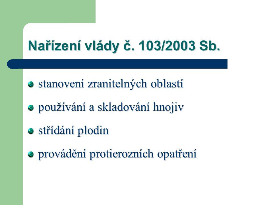 Nařízení vlády č. 103/2003 Sb. stanovení zranitelných oblastí používání a skladování hnojiv střídání plodin provádění protierozních opatření