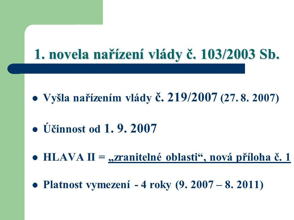 """1. novela nařízení vlády č. 103/2003 Sb. Vyšla nařízením vlády č. 219/2007 (27. 8. 2007) Účinnost od 1. 9. 2007 HLAVA II = """"zranitelné oblasti"""", nová"""